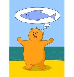 teddy bear fisherman vector image vector image