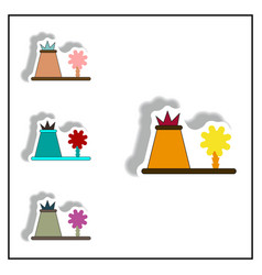 Volcano eruption sticker volcano and tree vector