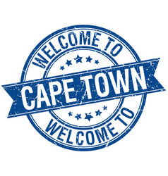 Welcome to cape town blue round ribbon stamp vector