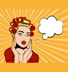 wow pop art face vector image