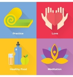 Yoga concept flat set vector image vector image