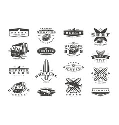 Set of surfing emblems graphic design for t-shirt vector