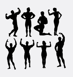 Male and female body builder sport silhouette vector