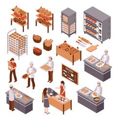 Isometric bakery set vector