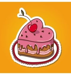Sweet heart shaped cake vector