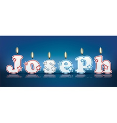 Joseph written with burning candles vector