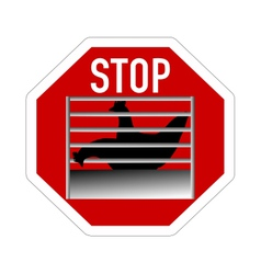 Stop sign caging of hen vector