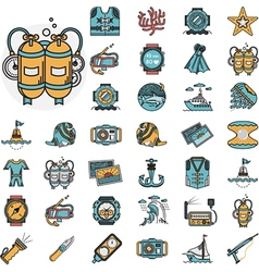 Diving flat icons collection vector
