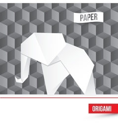 Paper origami elephant icon on 3d cube vector