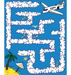 Maze plane journey vector