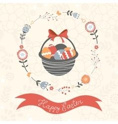 Easter card with basket full of easter eggs vector