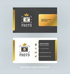 Golden and black business card design template vector