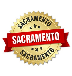 Sacramento round golden badge with red ribbon vector