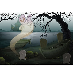 A scary place with a ghost vector image vector image