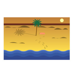 Beach and sea on the sunset flat style vector