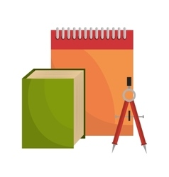 big book notebook and compass tool school design vector image vector image