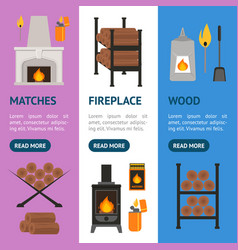 cartoon fireplace banner vecrtical set vector image vector image