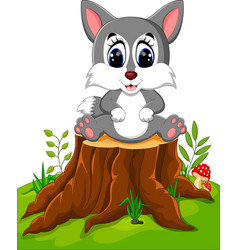 Cartoon wolf sitting on tree stump vector