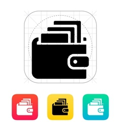Cash in wallet icon vector image vector image