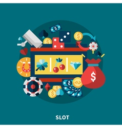 Casino Slot Icons Round Composition vector image vector image