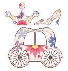 Cinderella set vintage vector image vector image
