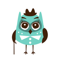 Cute cartoon owl bird wearing in elegant clothes vector