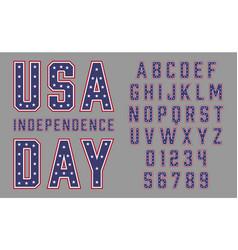 Font usa flag stars and stripes vector