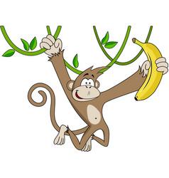funny monkey with banana vector image vector image