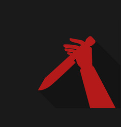 hand holding a knife red outline in retro style vector image