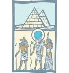 Hieroglyph pyramids vector