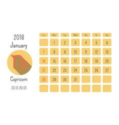 january calendar 2018 with horoscope signs zodiac vector image