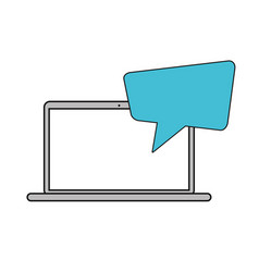 laptop messaging chat social media vector image