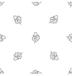 leaves pattern seamless black vector image