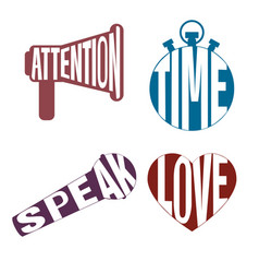 Logos letters style icon set - attention time vector