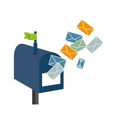 Mailbox with envelope letter isolated icon vector