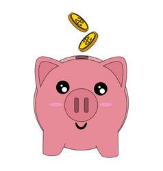 Piggy money savings kawaii cartoon vector