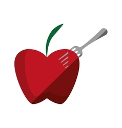Red apple fruit on fork with shadow vector
