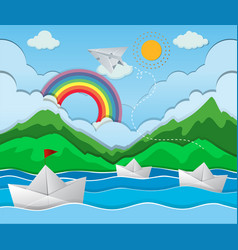 river scene with paper boat floating vector image vector image