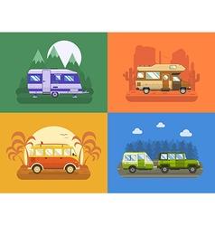 RV Travel Concept Landscapes in Flat Design vector image vector image
