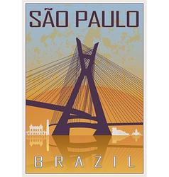 Sao Paulo vintage poster vector image vector image