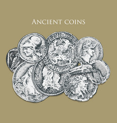 set ancient coins or money roman and greek cash vector image vector image