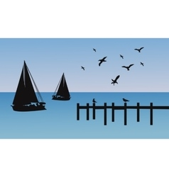 Silhouette of ship and pier vector
