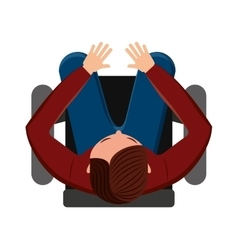 Person seated in office chair vector