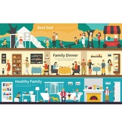 Best dad family dinner healthy flat interior vector