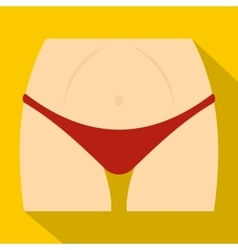 Slim woman body in red panties icon flat style vector