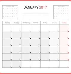Calendar planner for january 2017 vector