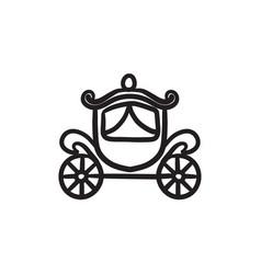 Wedding carriage sketch icon vector