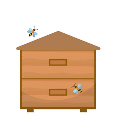 bee house icon flat style apiary isolated on vector image