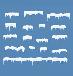 set of ice caps snowdrifts icicles vector image