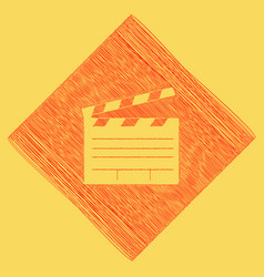 Film clap board cinema sign  red scribble vector